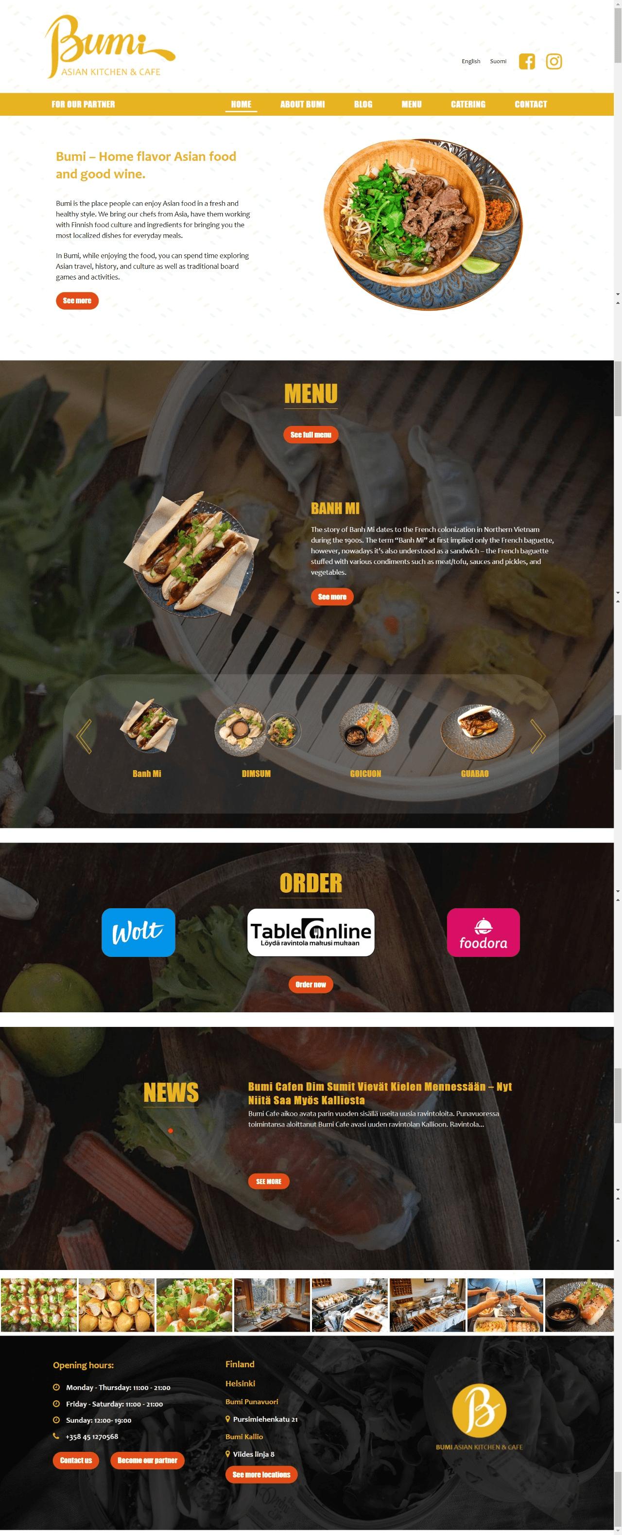 thiết kế website bumicaffe